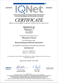 IQNet Certificate for quality system ISO 9001